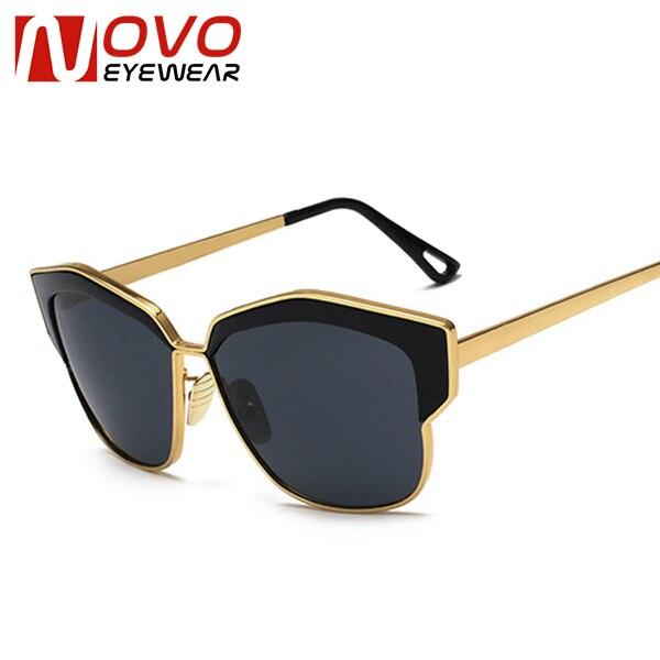 5bcea7bef7b96 NOVO GAFAS Oro Fresco gafas de Sol Mujer Lentes de Colores Lentes de Alta  Calidad Gafas de sol mujer Grande Tamaño Del Marco Mujer Shades en  Disfraces de ...