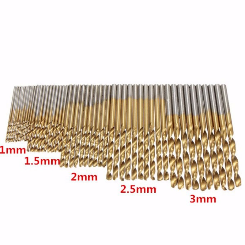 50pcs/Set Titanium Coated HSS High Speed Steel Twist Drill Bit Set Tool 1mm - 3mm 50pcs set twist drill bit set saw set 1 1 5 2 2 5 3mm hss high steel titanium coated woodworking wood tool drilling for metal