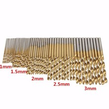 цена на 50pcs/Set Titanium Coated HSS High Speed Steel Drill Bit Set Tool 1mm - 3mm