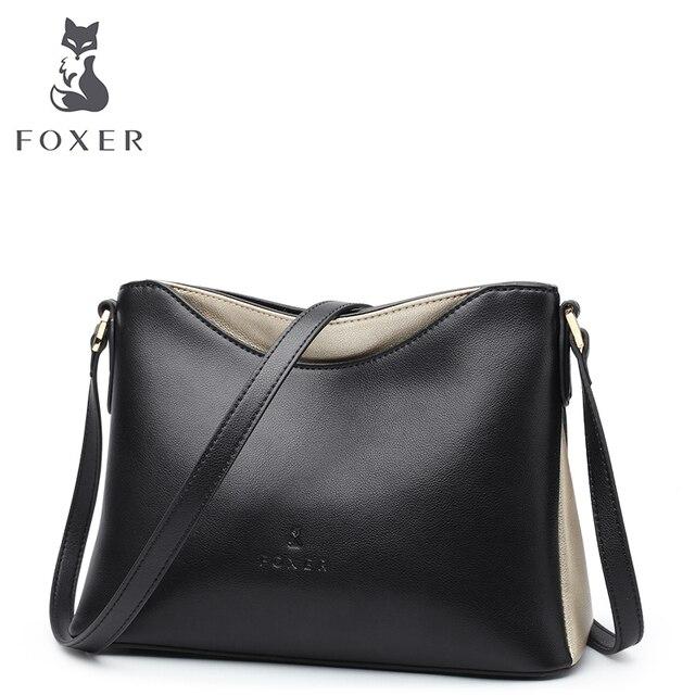 FOXER Для женщин сумка кожа коровы Crossbody сумка для Женские Простые и роскошные сумка леди бренда Высокое качество Сумки