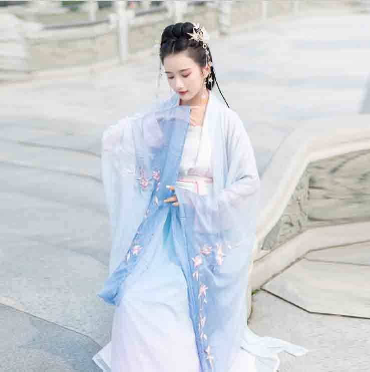 3 Piece Sets Hanfu Women Ancient Chinese Style Blue Gradient Jacket Female Carnival Princess Costume Outfit For Lady Plus Size