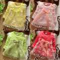 2017 Новые девушки Платья Младенца хлопка Dress дети ребенок лук Кружева принцесса дрес 4 цветов бесплатная доставка