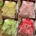 2017 nuevos vestidos de las muchachas de bebé de algodón dres princesa dress kids niños arco de encaje 4 colores liberan el envío