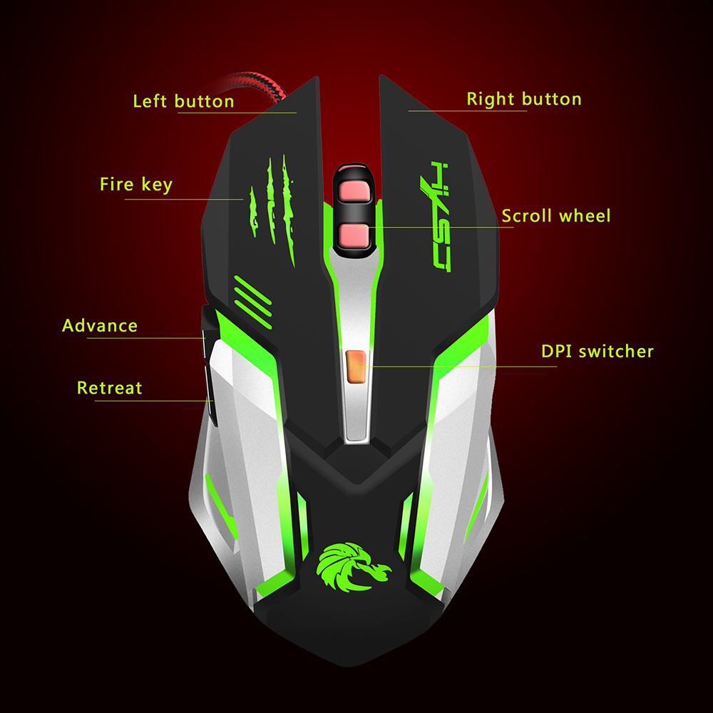 Image 4 - HXSJ Glowing Mouse USB Wired Professional Gaming Mouse Ergonomic Design Optical Mechanical Mouse Game with 7 Colors LED Backlit-in Mice from Computer & Office