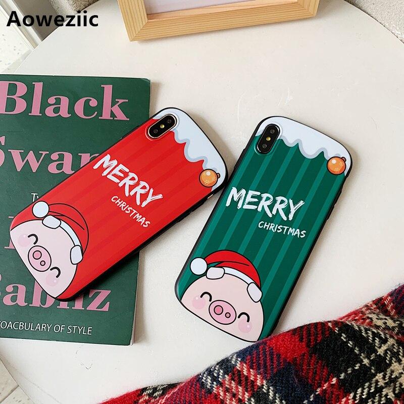 Aoweziic escudo arco de Natal bonito do porco anti-queda para iPhone XS MAX XR caso do telefone móvel fosco 6 p 7 8 soft shell maré