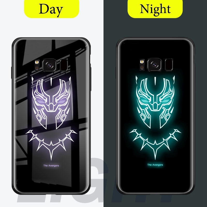 Marvel Batman Ironman Luminous Case For Samsung Galaxy s8 s9 s10 plus Glass  Coque For Samsung Galaxy Note 9 Note 8 Cases Cover