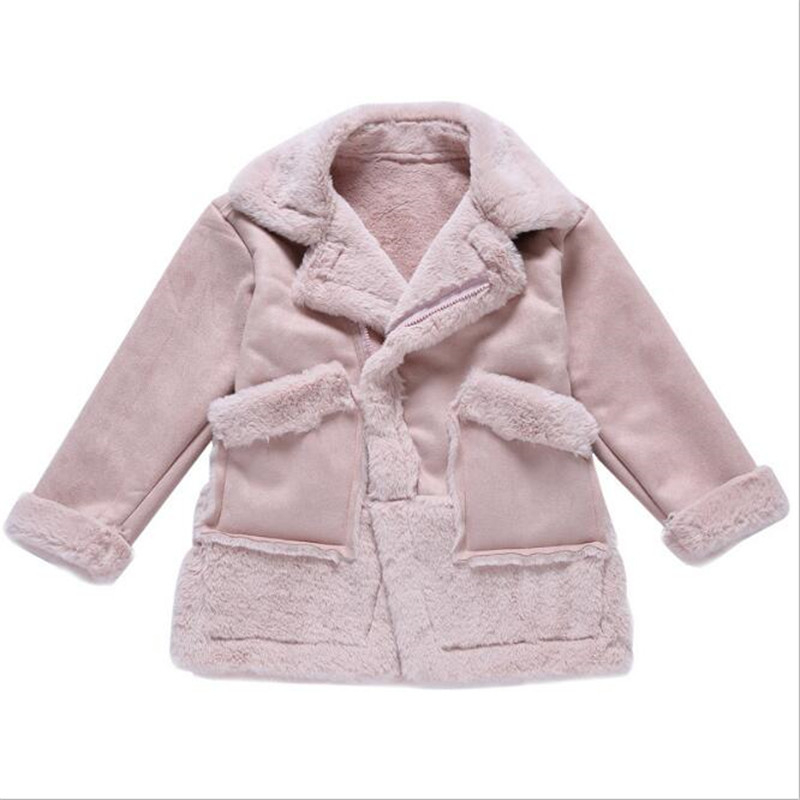 2018 Xmas Girls Winter Faux Fur Fleece Girls' Coats Kids Warm Jacket Children Snowsuit Outerwear Mid-long Thicken Girl Clothes fashion girl thicken snowsuit winter jackets for girls children down coats outerwear warm hooded clothes big kids clothing gh236