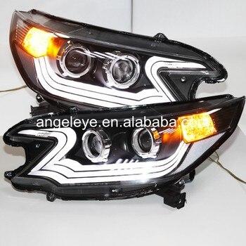 2012-2014 year For HONDA for CRV Strip LED Headlights Front Lamp Black Housing V1 LD