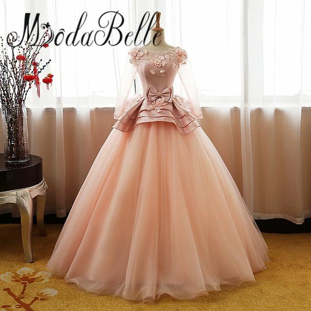 modabelle 2017 Princess Tulle Peach Wedding Dresses Vintage Illusion ...