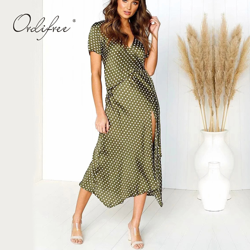 2ed56afb7b81 ... 2019 Summer Women Long Silk Dress Short Sleeve Split Satin Dress Belted Polka  Dot Sexy Maxi ...