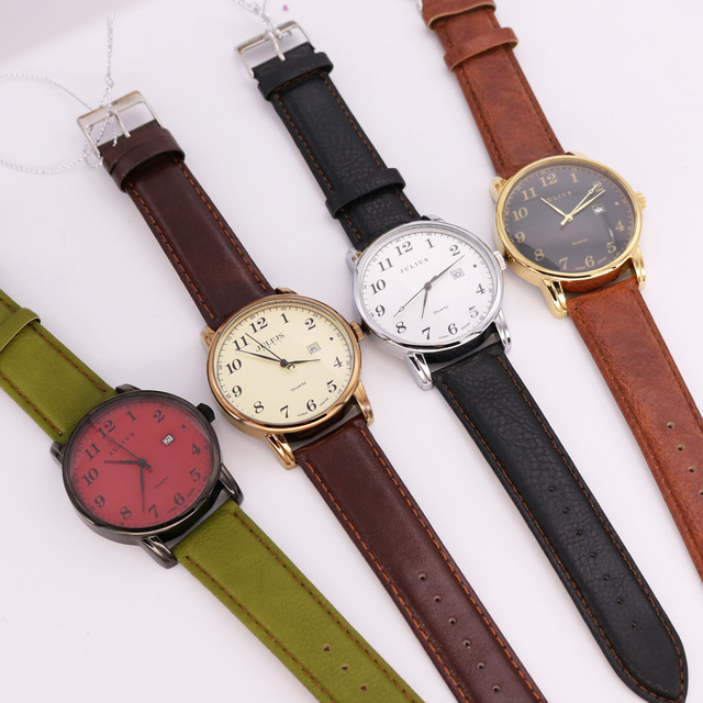 Julius Women's Men's Wrist Watch Quartz Hours Auto Date Fine Fashion Dress Leather Couple Lovers' Birthday Gift JA-508