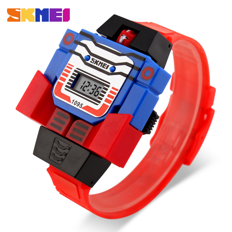 SKMEI Children LED Digital  Watch Creative Cartoon Sports Watches Deformed Robot Toys Boys Wristwatches 1095