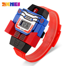 Get more info on the SKMEI Children LED Digital  Watch Creative Cartoon Sports Watches Deformed Robot Toys Boys Wristwatches 1095