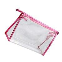 5 قطع من ماء شفاف حقيبة ماكياج التجميل مخلب حقيبة التخزين (متوسط ، روز)