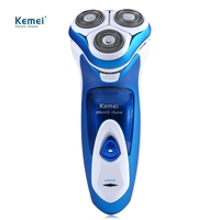Kemei KM 5880 3D Full Washable Rechargeable Rotary Triple Floating Heads Electric Shaver Razor Trimmer