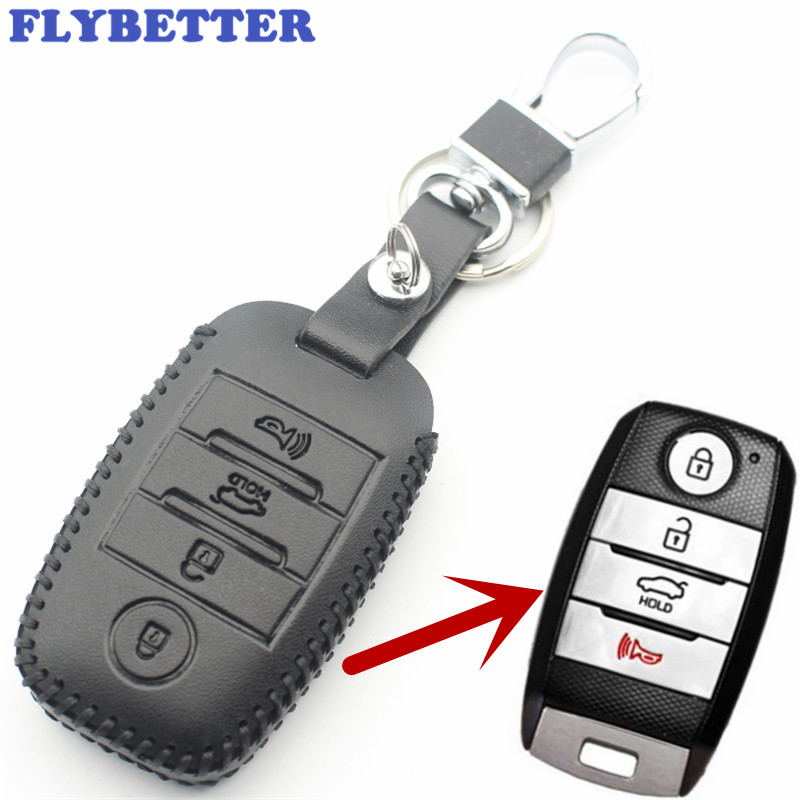 FLYBETTER Genuine Leather 4Button Keyless Entry Smart Key Case Cover For Kia Sorento/Rio/Rio5/Optima Car Styling L71 flybetter genuine leather 4button keyless entry smart key case cover for kia sorento rio rio5 optima car styling l71