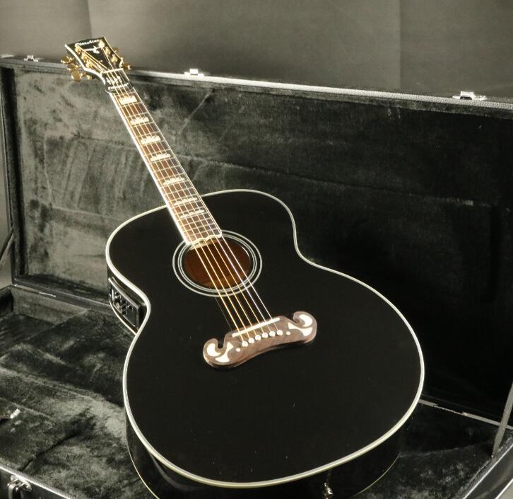 Top qualité E-J200A 43''Jumbo guitare acoustique électrique Fishman EQ acajou cou Grover accordeur couleur noire
