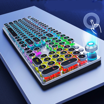 Steampunk Gaming Mechanical Keyboard Metal Panel Round Retro Keycap Backlit Wired Computer Peripherals for Desktop Laptop 2