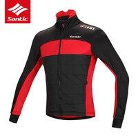 Santic Winter Cycling Jacket Windproof Warm Thermal Fleece Bike Bicycle Jacket Men Tour De France Cycle
