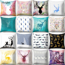 Hongbo Nordic Geometric Cushion Pillowcase Cover Deer Elk Pillow Christmas Present Cojines
