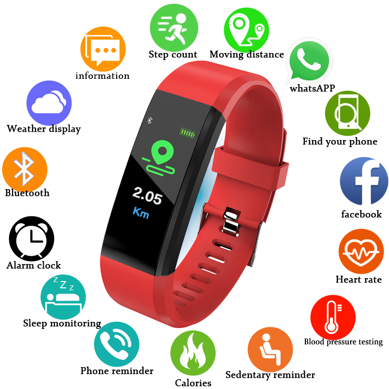 Wishdoit 2018 New Smart Watch Men Women Led Color Screen Smart Watches Sport Fitness Tracker Pedometer Smart Watch Pk Mi Band 3 Digital Watches