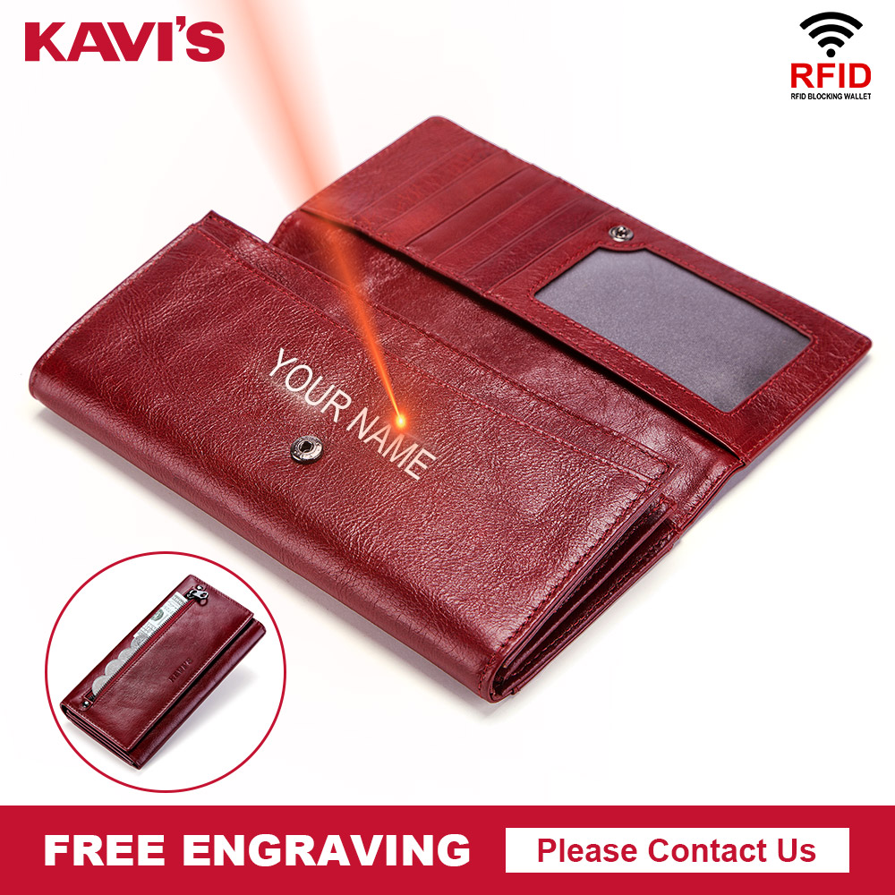 KAVIS Free Engraving Genuine Leather Women Wallet and Purse Female Coin Purse Portomonee Clamp For Money Bag Zipper Perse Handy