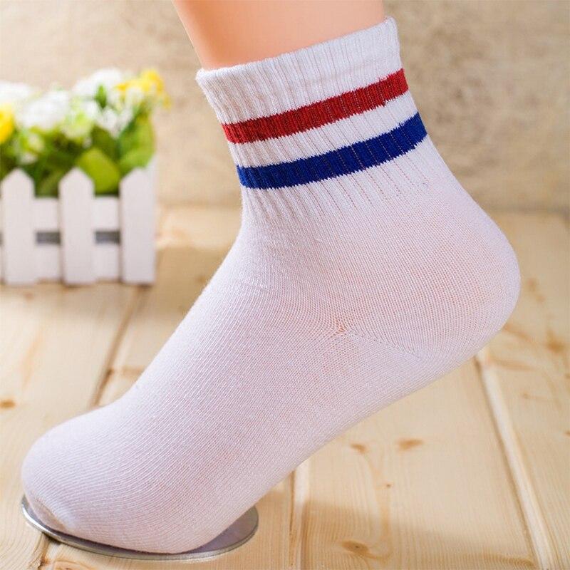 HUCOINHOW 1pair Sports Socks Female Two Stripes Cotton Socks Autumn Sports Stockings College Students Baseball Socks