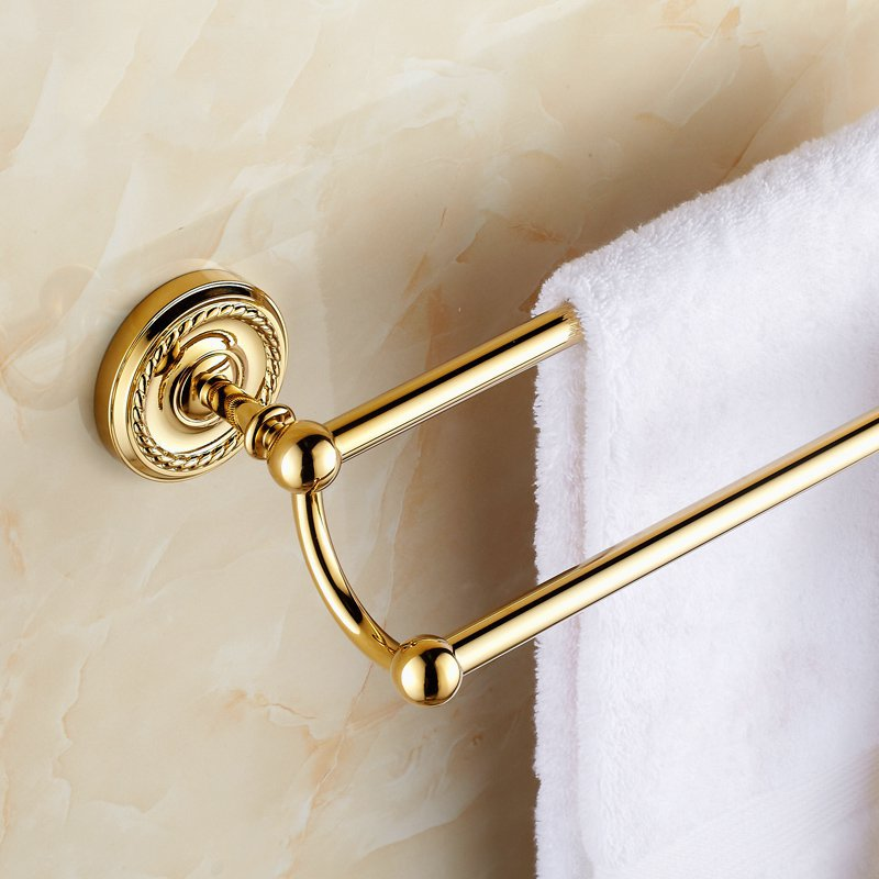 ФОТО Luxury golden bathroom accessories double towel rack holder European golde double towel bar towel rack