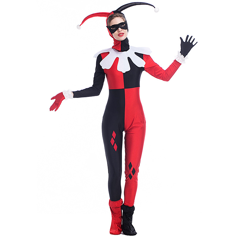 Womens Cartoon Dress Onesie Movie Harley Quinn Clown Cosplay Harley Quinn Costume Hallow ...