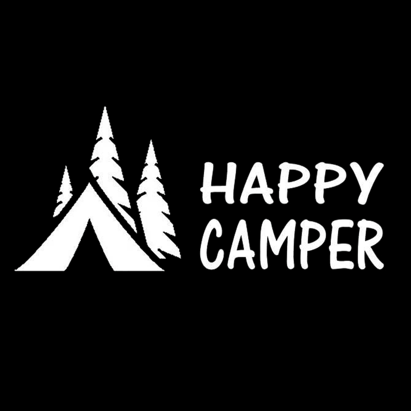 HotMeiNi 20cmx9cm Happy Camper Camping Decal Sticker For Car Truck Suv Van Laptop Tent Wall The Whole Body Words Car Sticker