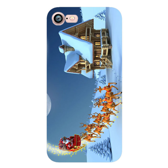 Happy New Year Merry Christmas Snowman Santa Claus Phone Case iPhone 7 6 6S plus 5s se 5