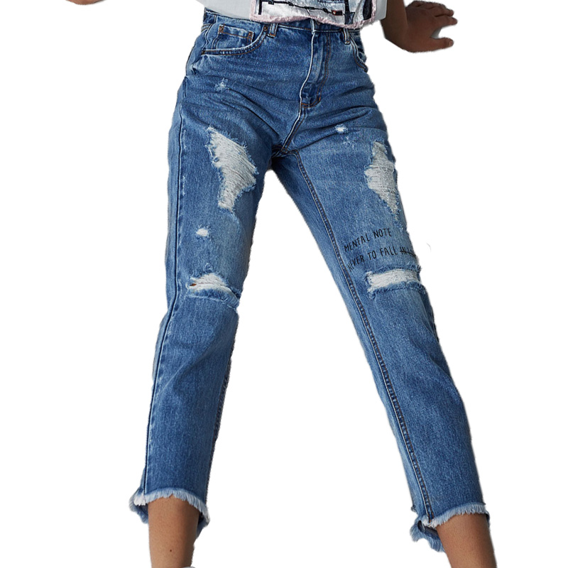 2017 summer pants women casual hole jeans woman letter denim womens clothing printing high waist jeans