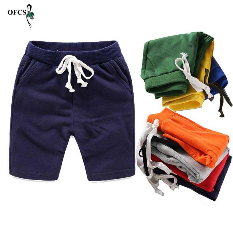 Шорты детские хлопковые однотонные с эластичным поясом, модные спортивные штаны для мальчиков и девочек, трусы для малышей, пляжная одежда, ...