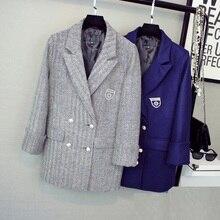 Елочка шерстяной костюм осень 2017 изысканные Стиль серый синий тон Женская шерстяная куртка с кристально брошь