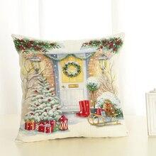 2018 Cartoon  christmas  Throw Pillow  Cotton Linen Cushion cover For Sofa Home  pillow cover  cojines decorativos para sofa home decorative sofa throw pillows plush solid color cushion pillow cojines decorativos para sofa pillow covers