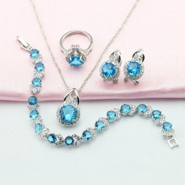 WPAITKYS Moda Light Blue Stone Plata Conjuntos de Joyas Para Las Mujeres Pendiente Colgante Pulsera Anillo de Collar de Caja de Joyería Libre