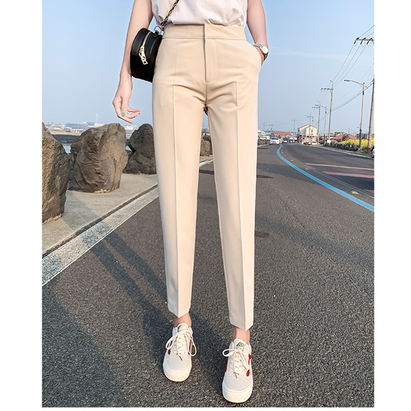 JUJULAND New Black Suit Pants Woman High Waist Pants Pockets Office Ladies Pants Fashion Middle Aged Pants 9020