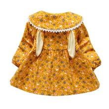 Winter Plus Velvet Baby Girl Dress Fashion Cartoon Print Rabbit Ears Kids Dress For Girls Warm Autumn Long Sleeve Princess Dress