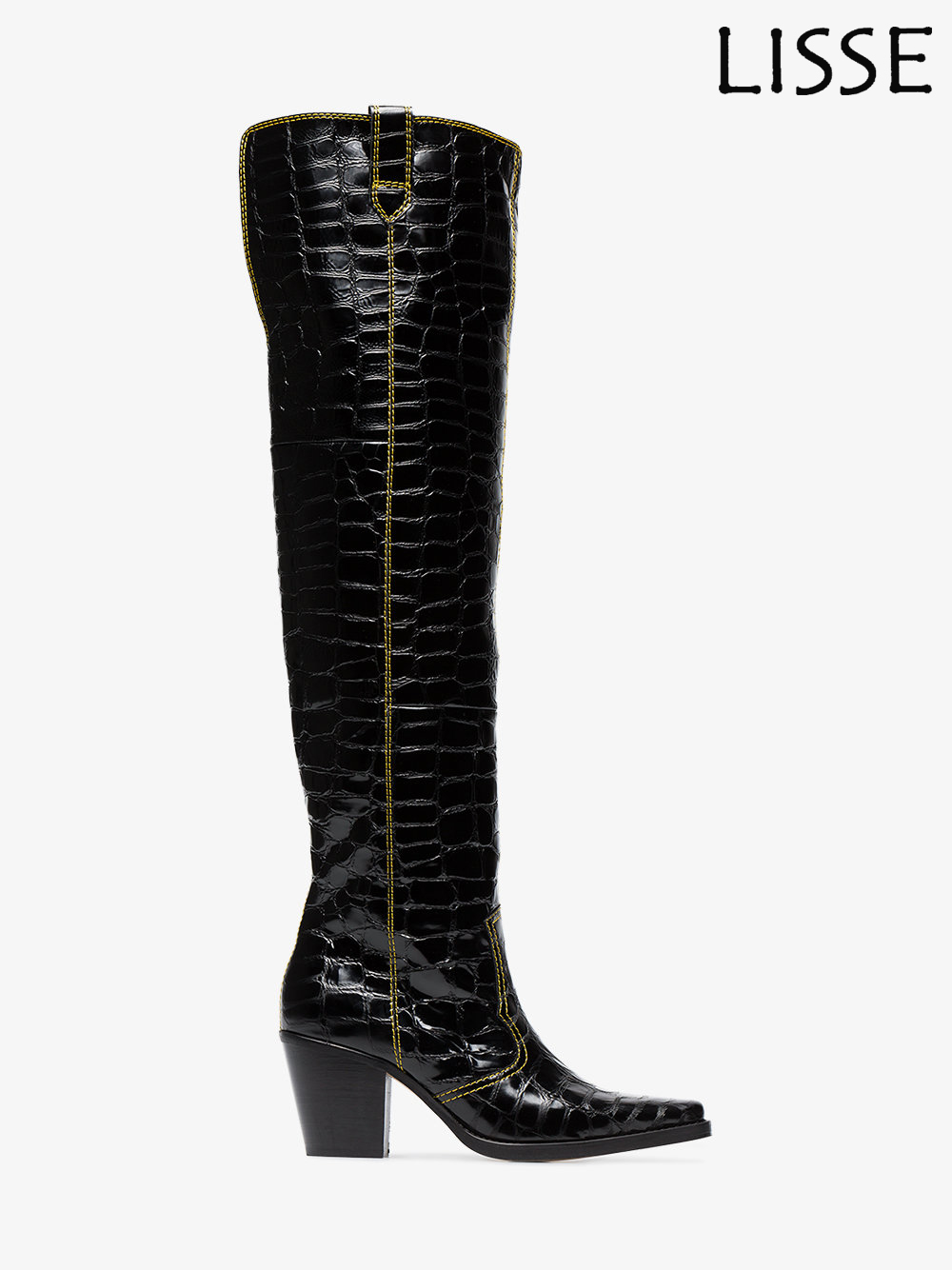 2018 Women Square Toe Block Heel Crocodile Pattern Over the Knee Boots Black Big Size 4-15.5 Support Custom Fit цена