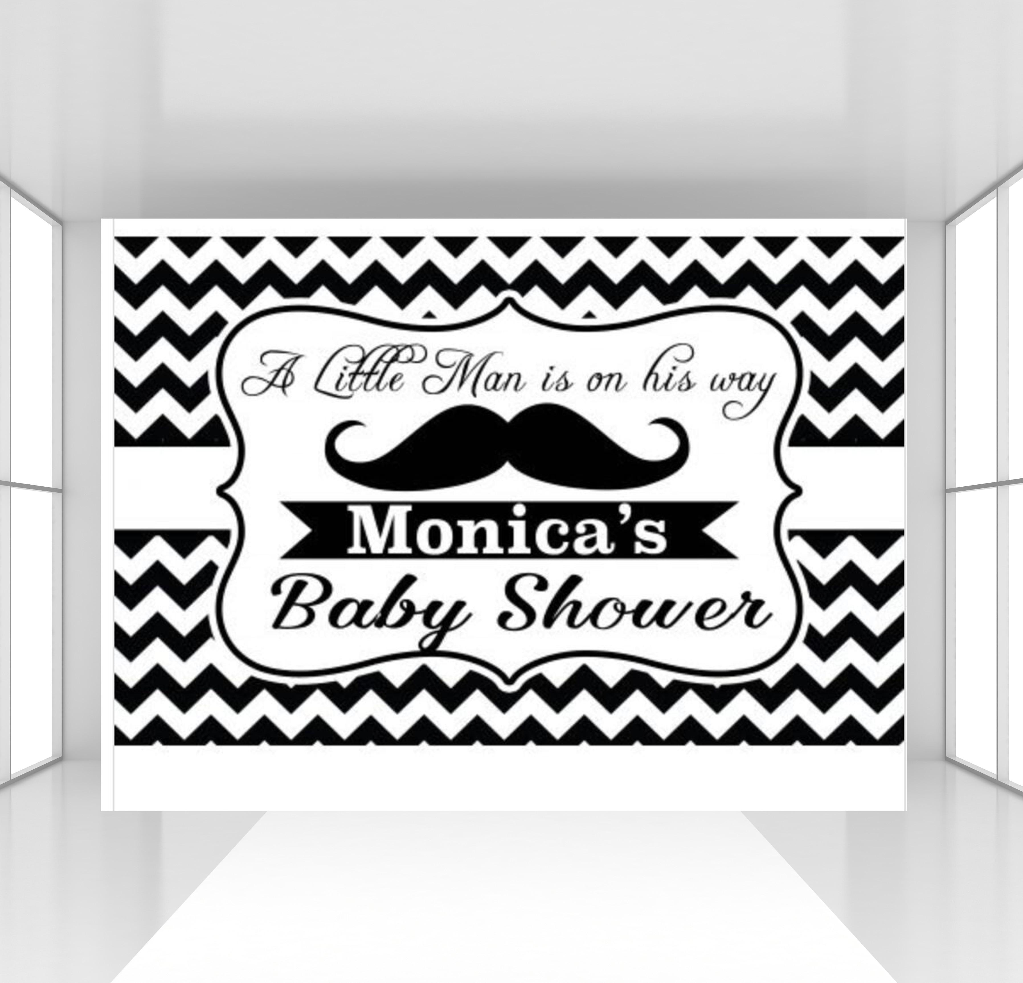 HUAYI personnalisé petit homme bannière toile de fond noir chevron Dessert Table photophone fond moustache anniversaire bébé douche toile de fond