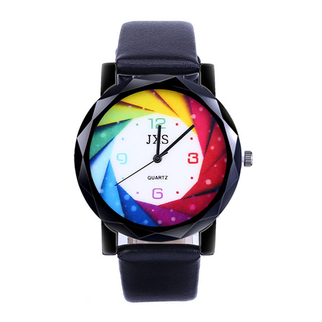 Women's Bracelet Watches Quartz Wrist Watch Retro Rainbow Design Casual Leather Ladies Dress Sport Watches Relogio Feminino 533