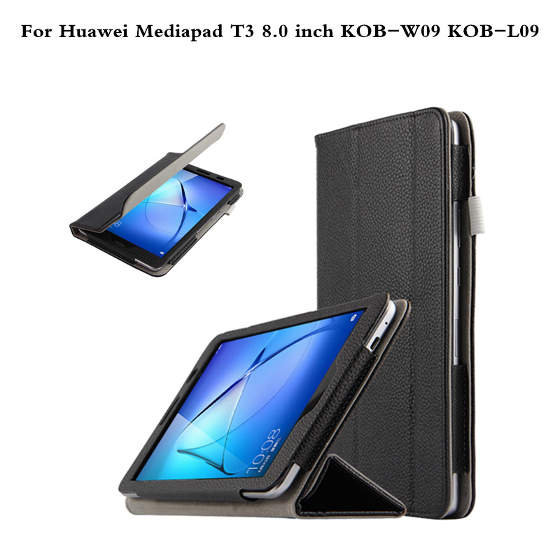 Real Leather Case For Huawei Mediapad T3 8.0 Smart Cover Cases For T3 8 inch Tablet PC  KOB-L09 KOB-W09 Lichee Pattern coque smart cover colorful painting pu leather stand case for huawei mediapad m3 lite 8 8 0 inch cpn w09 cpn al00 tablet