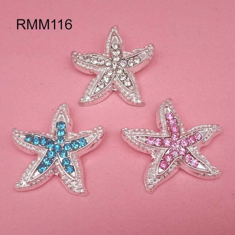 23mm Metal Rhinestone Starfish Shank Embellishment Headband Supplies Flower Centers 120pcs RMM116