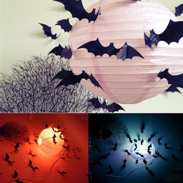 12pcs diy pvc black bat wall sticker decal home halloween all saints day decor bats