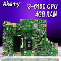 Akemy TP501UA материнская плата с 4G Оперативная память I3 6100CPU для ASUS TP501UA TP501U TP501UQ TP501UAM TP501UAK TP501UJ материнская плата для ноутбука