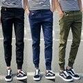 Мода Повседневная Брюки Мужчины Корея стиль Отдыха Хлопок Slim Fit брюки-карго тощий Длинный брюки бренд-одежда D002