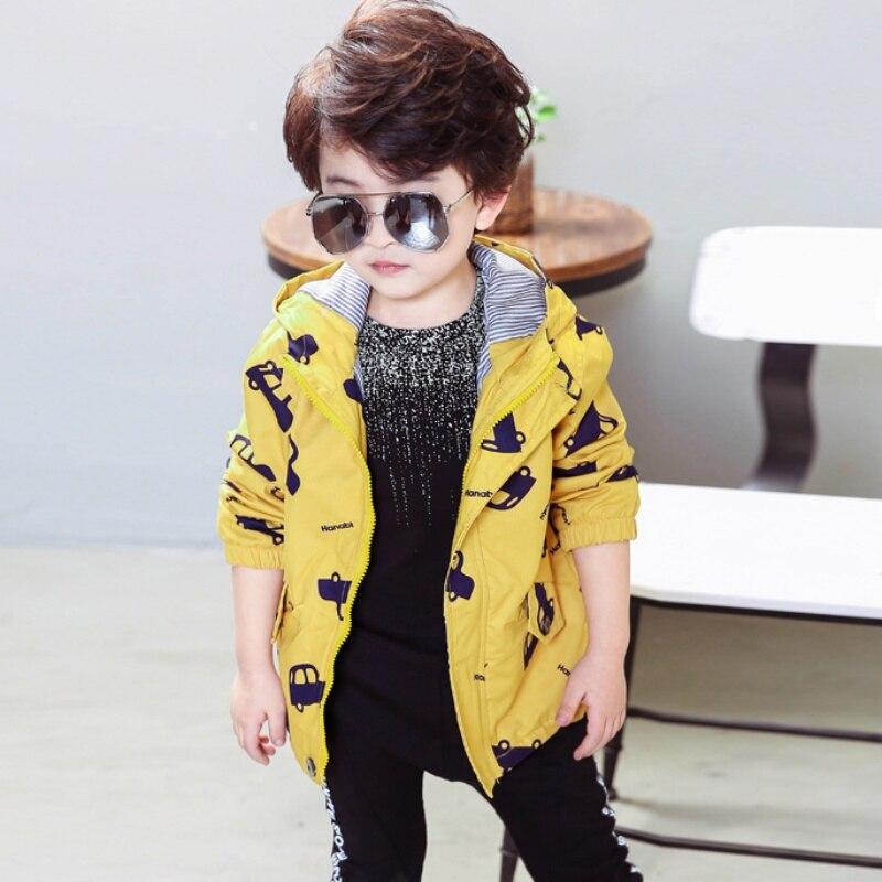 70 120cm Spring Autumn Boys Girls Jacket Kids Outerwear Cute Car Windbreaker Coats Fashion Print Canvas