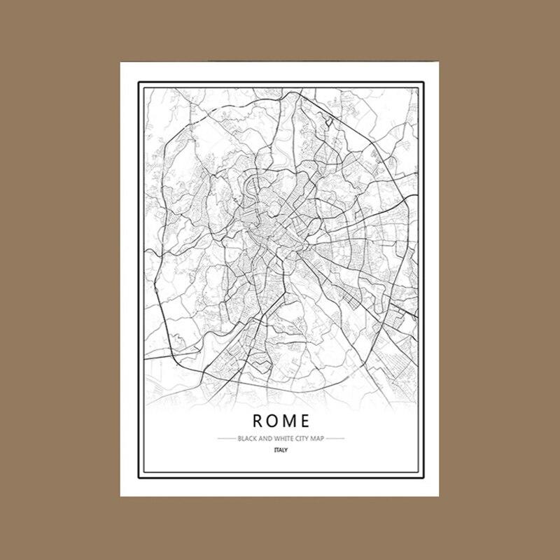Rahat An Siyah Ve Beyaz Dünya şehir Haritası Londra Roma Viyana