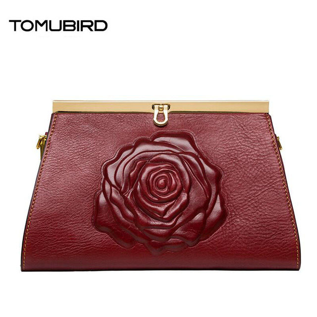 2016 New luxury handbags women bag designer quality leather clutch embossed roses fashion luxury women genuine leather handbags