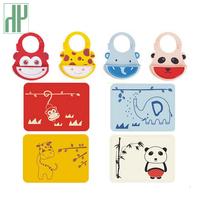 Baby bibs waterproof silicone feeding baby Infant saliva towel newborn cartoon animal aprons Baby bibs burp cloths and placemat